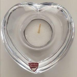 Orrefors Crystal Heart Shape Candle Holder